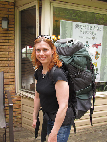 Kristy deciding she never wants to lift my pack again. Welcome Home Party in Dundas, ON. Canada 12MAY12