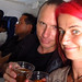 Chris and I enjoying our drinks on our LACSA flight from San Jose to San Salvador