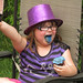Abigail showing the staining power of blue icing :). Welcome Home Party in Dundas, ON. Canada 12MAY12